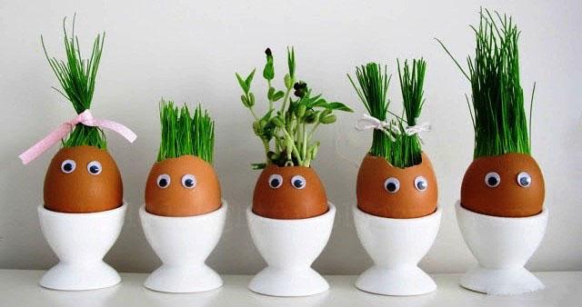 Травянчики из яичной скорлупы