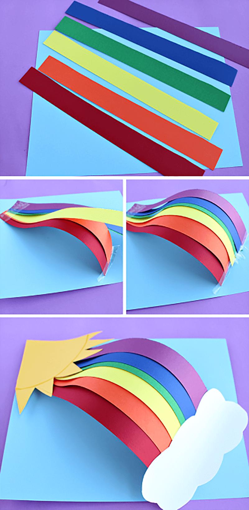 Как сделать объемную радугу из бумаги