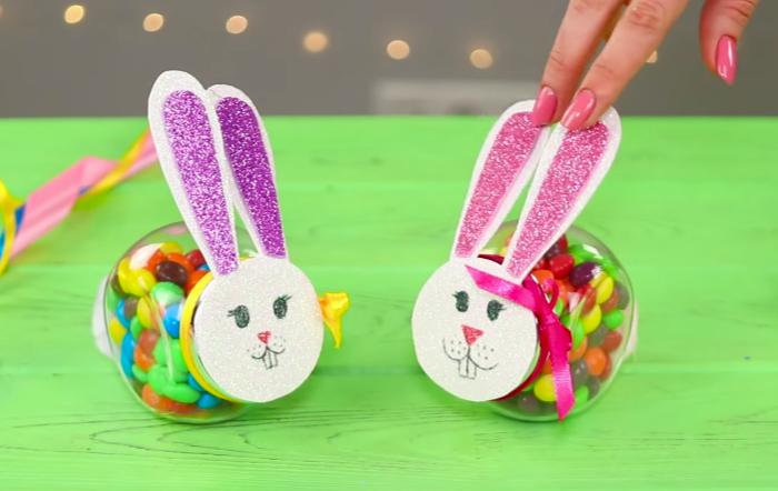 Пасхальный кролик из банки для сладких подарков
