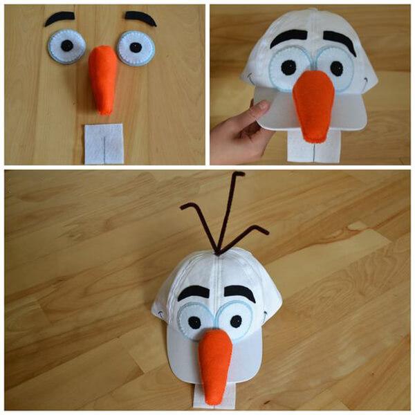 Как украсить кепку для костюма снеговика