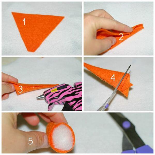 Как сделать нос для снеговика из фетра