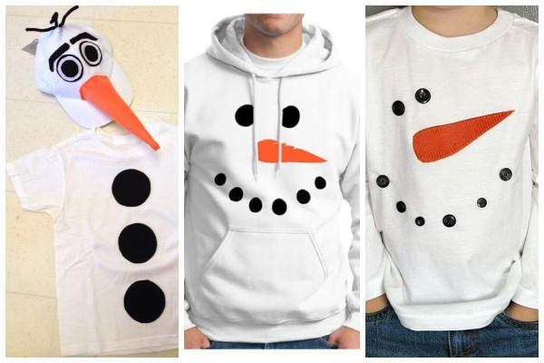 Как украсить футболку в виде снеговика