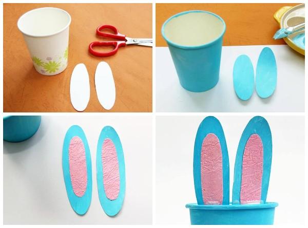 Как сделать зайчика из бумажного стаканчика